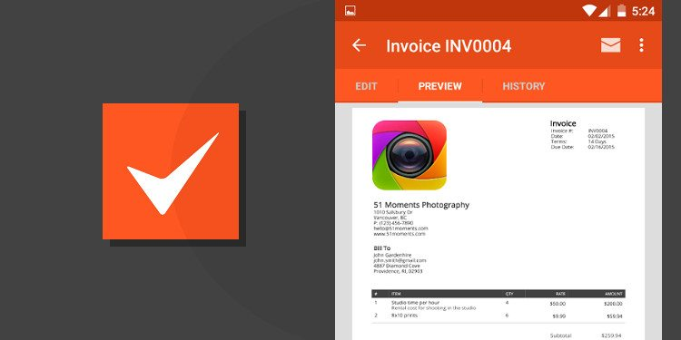 5 best invoicing apps for android – simple, minimal, powerful, Invoice examples