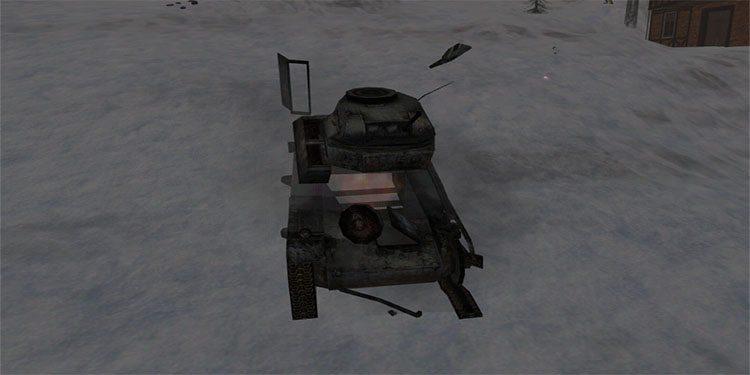 Tank being blown up