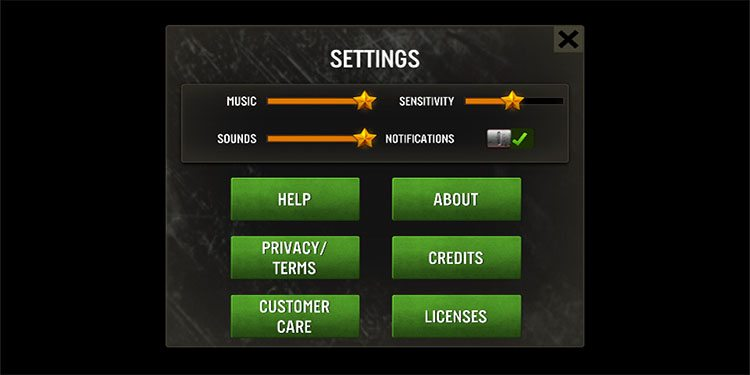 Quick look at the settings.